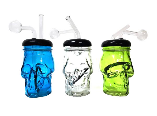 """5.25"""" Colored Skull Bottle"""